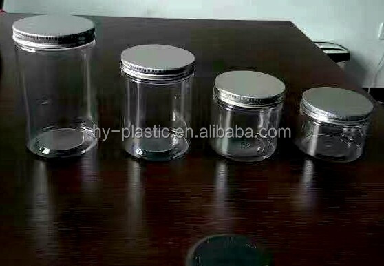 plastic pet jar food container with screw aluminium lid