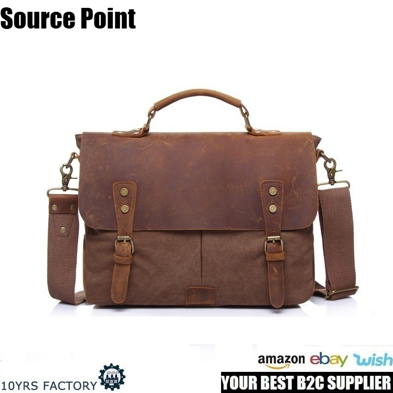 YD-1807 Amazon hot sell unisex canvas leather vintage messenger laptop crossbody bag satchel