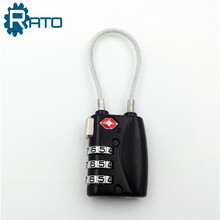 3 Digits TSA Cable Combination Padlock for Luggage