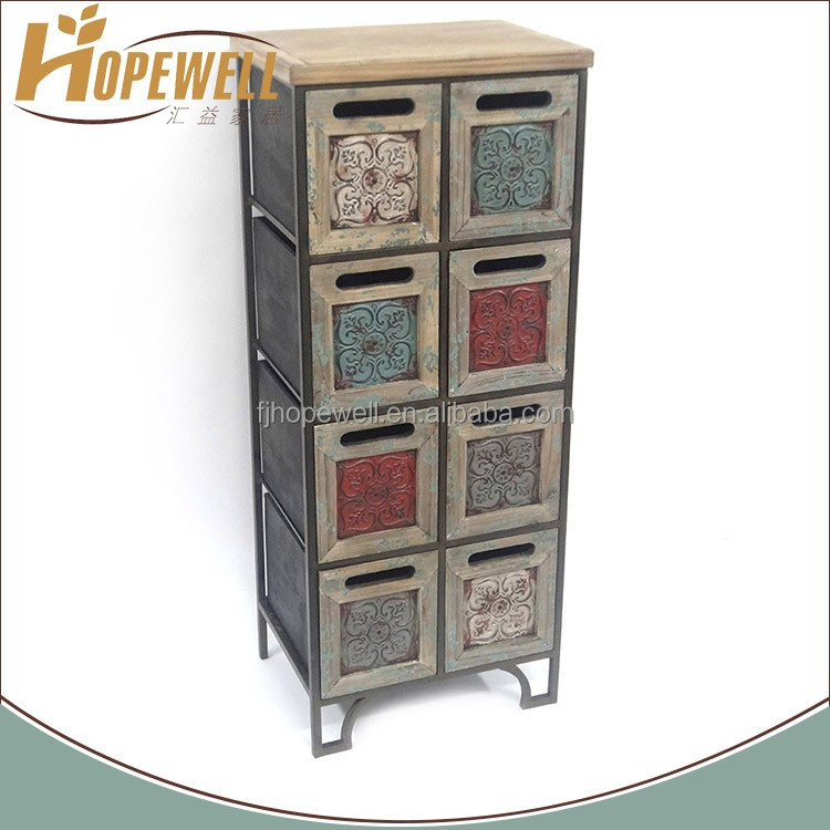 Antique drawer mdf design living room divider cabinet in teak wood