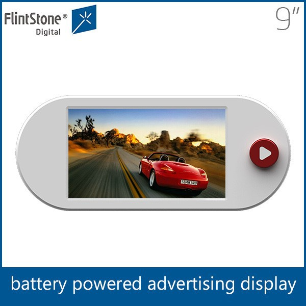 Flintstone 9 inch mini TV with battery, supermarket shelf edge advertising screen, promotional LCD video monitor