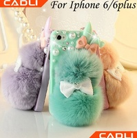 Wholesale mobile Phone accessories Soft Rabbit Fur Plus Cell Phone Case for Iphone 6