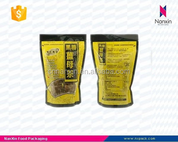 plastic stand up ginger tea packaging bag