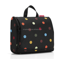 Hanging Colorfull Dot Printed 600D Polyester Toilet Wash Bag