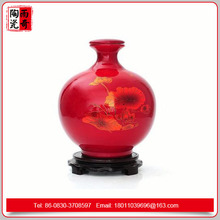 2016 Chinese red antique ceramic liquor bottle 2000ml