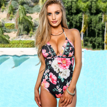 Popular Korean Hot Sex Swimsuit Sexy Black Floral Halter One Piece Swimsuit