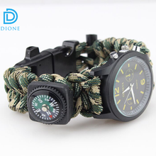 Outdoor sports military survival compass gear watch bracelet with compass