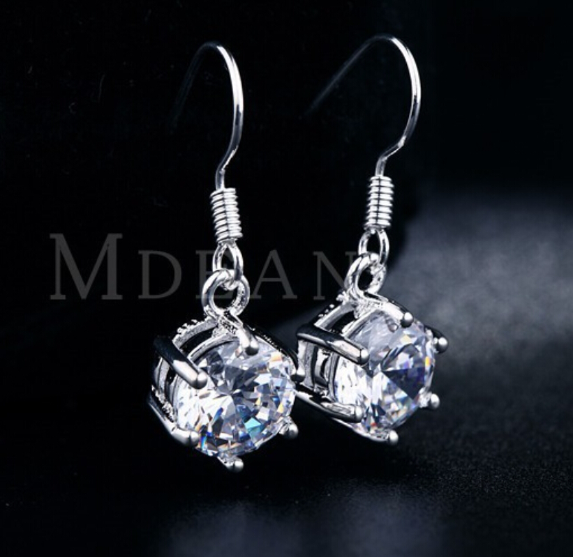 MDEAN Drop Earrings Fashion white gold filled pendientes jewelry for women vintage wedding earrings wholesale New Arrived MSE002