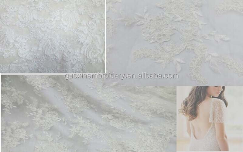 2014 hot selling hand beaded embroidery lace with applique