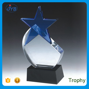 hot sale awards use custom logo crystal K9 star shaped trophy cups