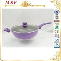 28cm deep frying pan aluminum non-stick pan with glass lid