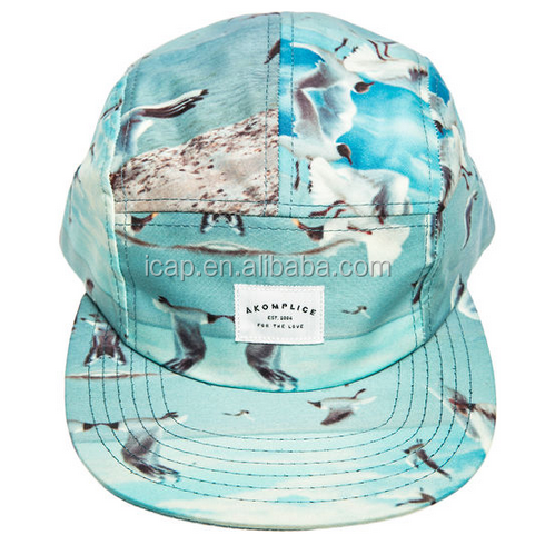 Wholesale Alibaba seagulls Flower Flat Brim 5panel baseball cap with Chapter woven label