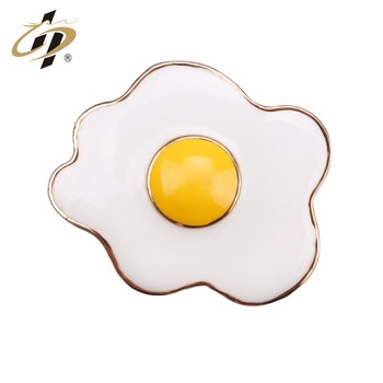 China factory wholesale gold plated egg design brass enamel pin badge
