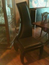 Left Swirl Leather Heavy Wood Frame Chair
