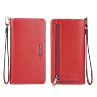 saffiano pu leather mobile phone wallet bag universal