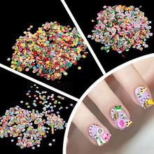 Professional 1000PCS/lot Fimo Clay 3 Series Fruit Flowers Animals DIY 3D Nail Art Decorations Nails Art Sticker Design