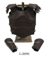 Leather Armor Jacket with Shoulder Guards and Arms Guard Leather Armor