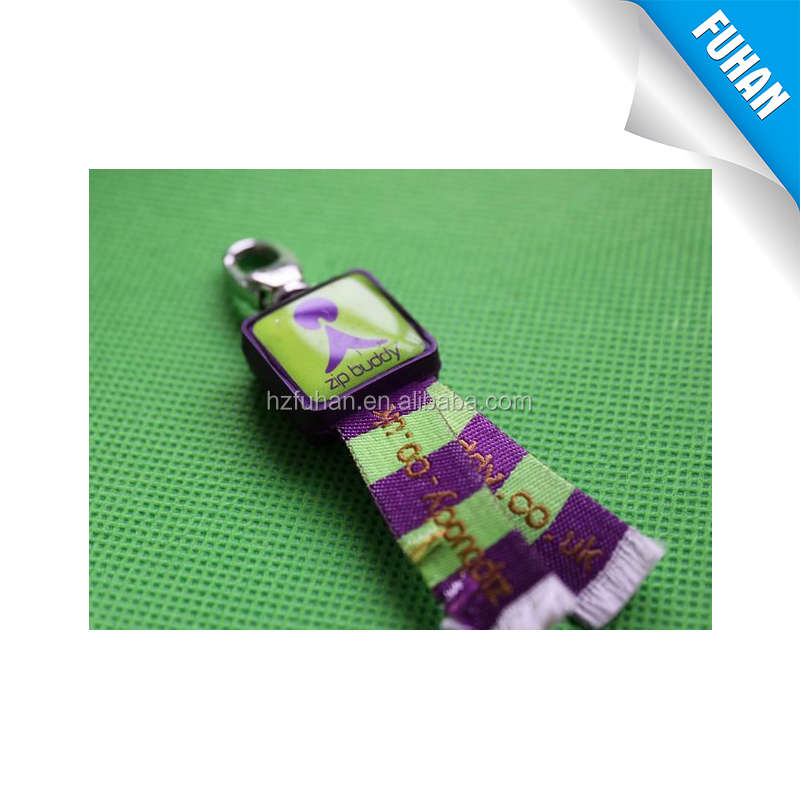Garment accessories good quality custom woven zipper puller with logo