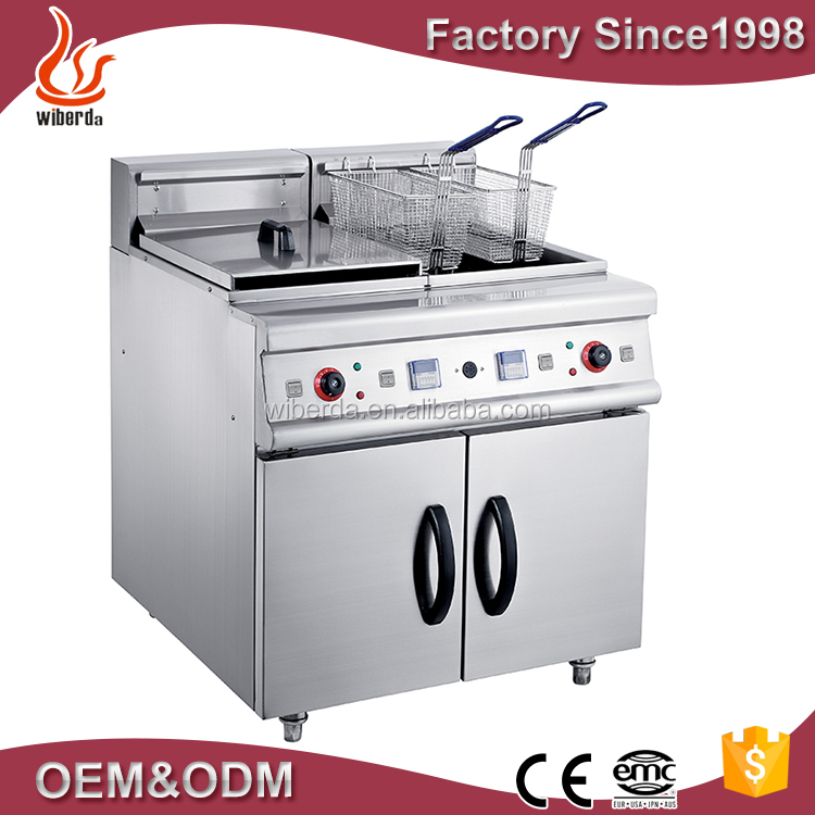 Top quality stainless steel commercial electric industrial deep fryer with double tanks