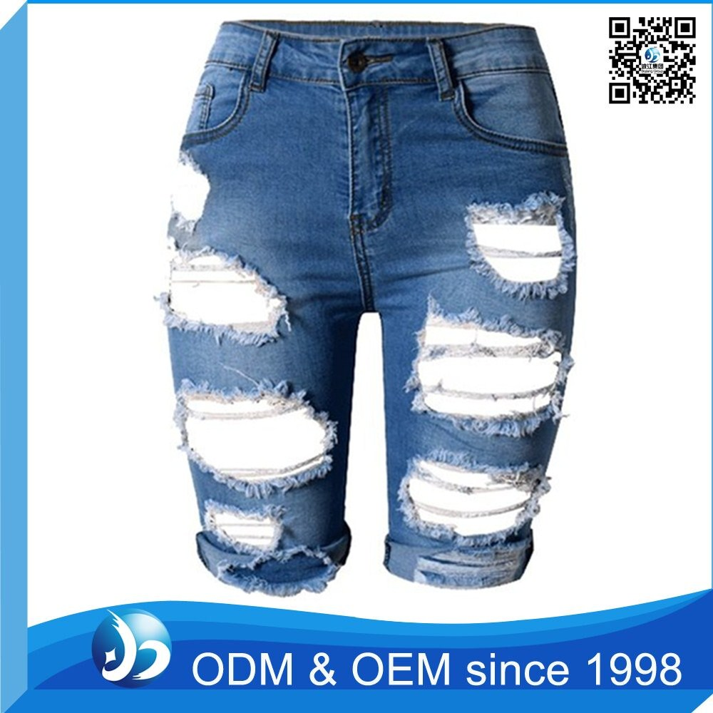 Hot Sale Distressed Girls Denim Shorts Ripped Jeans Women