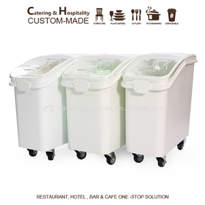 NSF Approval Mobile 81L &102L Kitchen Food Large Plastic Ingredient Storage Bins /Rice Bin flour container
