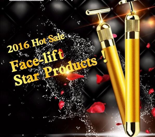 Hot selling 24k gold energy facial Vibrating bar face Massage lifting machines T shape Women beauty bar 24k gold skin care