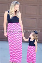 2015 Boutique fashion new style new look maxi dress, mommy and me maxi dress, mother and daughter long maxi dress