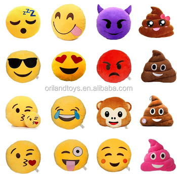 Lovely Soft Smiley Emoticon Stuffed Emoji Soft Cushion custom cute cheap plush emoji pillows