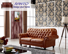 Latest Italian Design Graceful Chesterfield Tufted Leather Sofa For Living Room