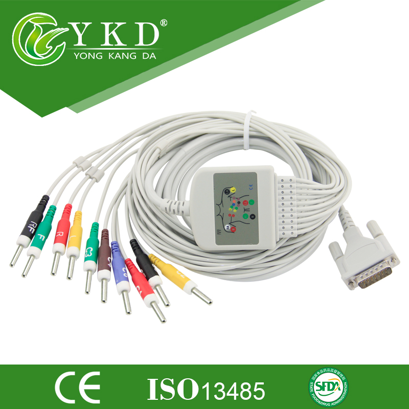 IEC, 10-lead,Schiller ekg cable for AT3 ECG machine