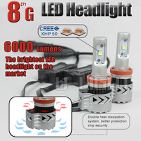 Newest 8G LED headlight H4 H7 H8 H10 H11 9005 9006 H13 9007 with XHP50 chip more than 6000 lumens