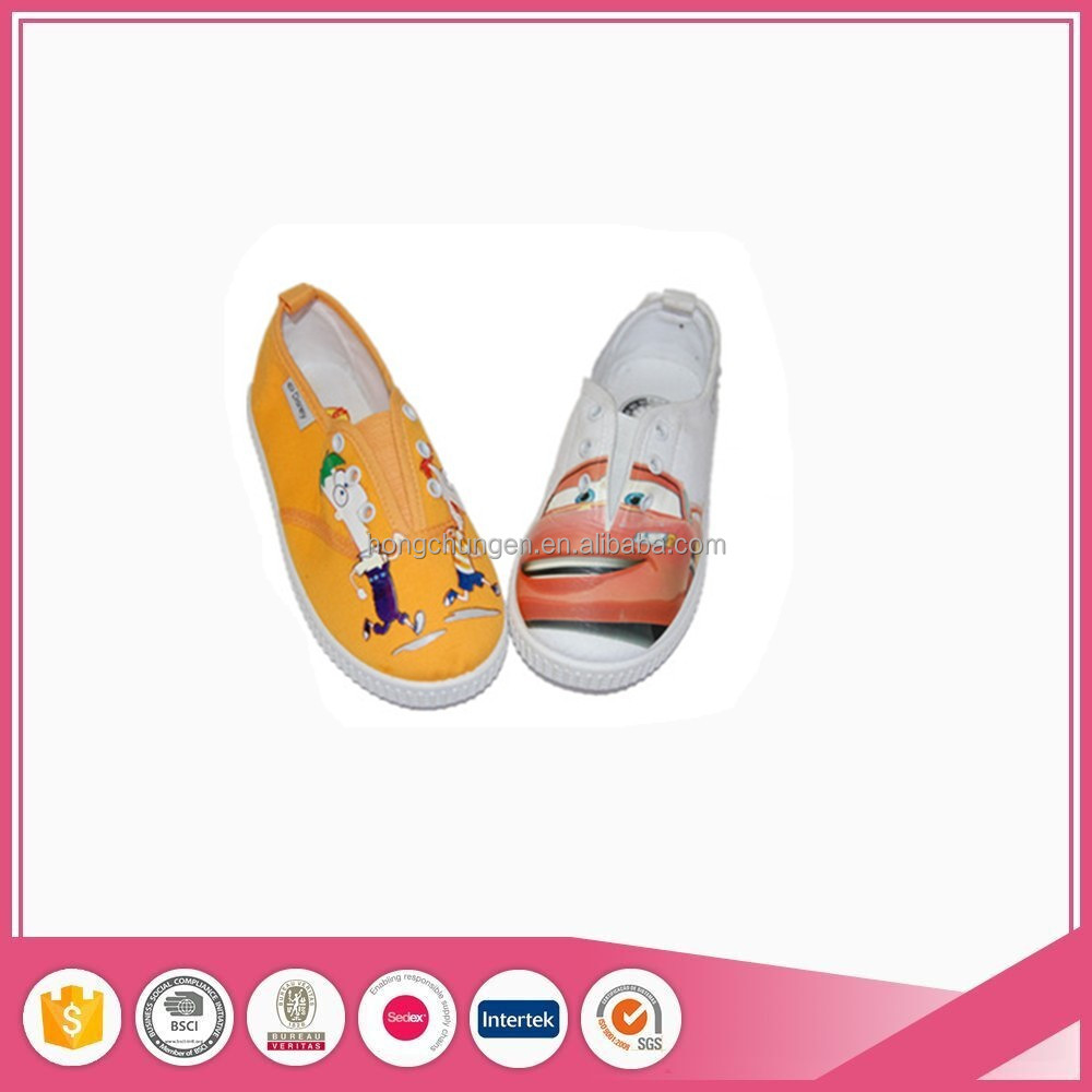 canvas fabric children injection slipper shoes with PVC sole