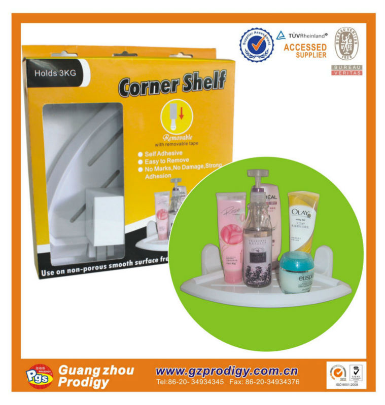 plastic bathroom design corner shelf with suction cup