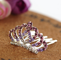 2015 New Design !!! Children's hair accessories mini crown full of diamond flower hairpin U-shaped cute hair accessory