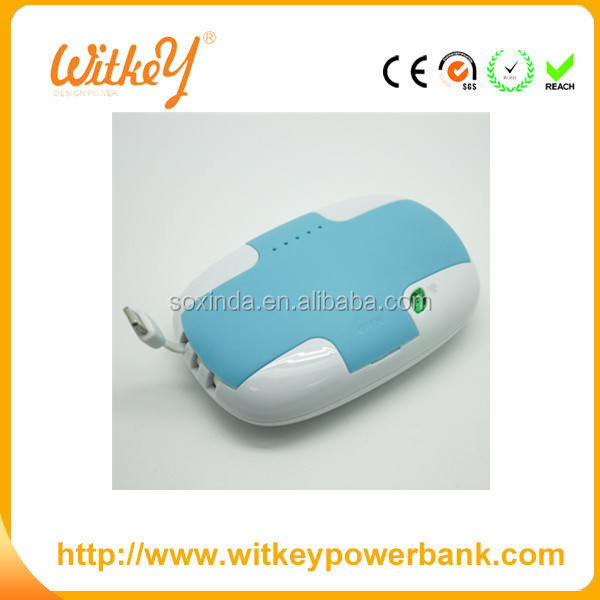 plastic case power bank 3600mah with Built-in cable line