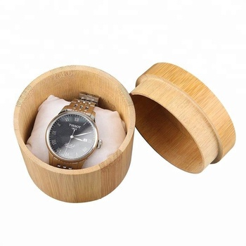 Bamboo Watch Case Single Watch Box Storage Holder Organizer with pillow