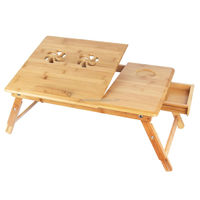 Adjustable Bamboo Foldable Laptop Table For