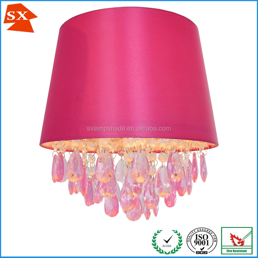 Modern fashion faux silk fabric pendant lamp shade with 4 layer acrylic beads SX-0021