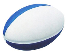 promotional pu foam blue and white custom soccer stress ball