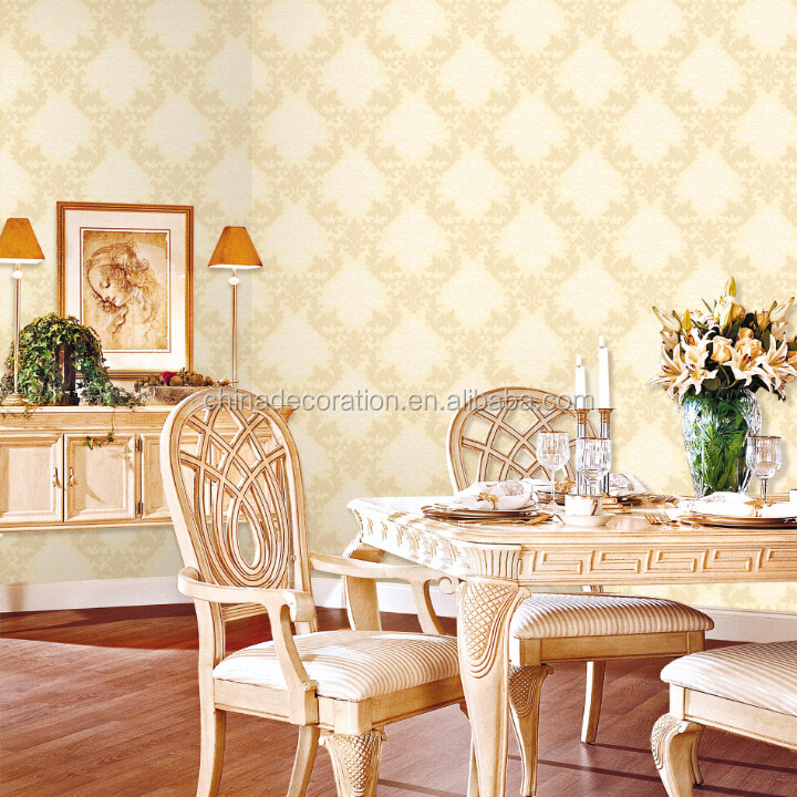 Warm colour design non-woven wallpaper damask pattern
