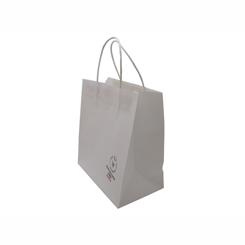 china suppliers printed white kraft paper bag with handle wholesale
