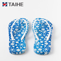 New fashion style women flat rubber slippers 3D printing flip flops