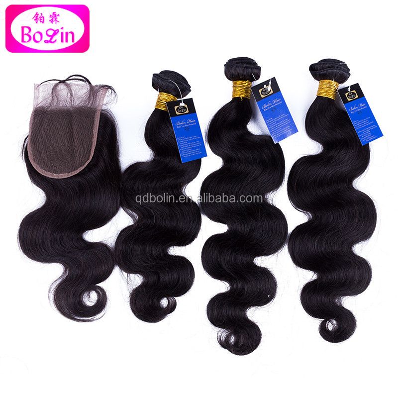 online hot sellers brazilian hair body wave natural color virgin hair bundles with lace frontal closure