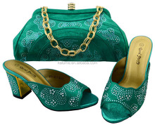 2017 Italian Shoes And Bags To Match Ladies Shoes For Wedding Party With Teal High Quality Shoes And Bag Set BCH-40