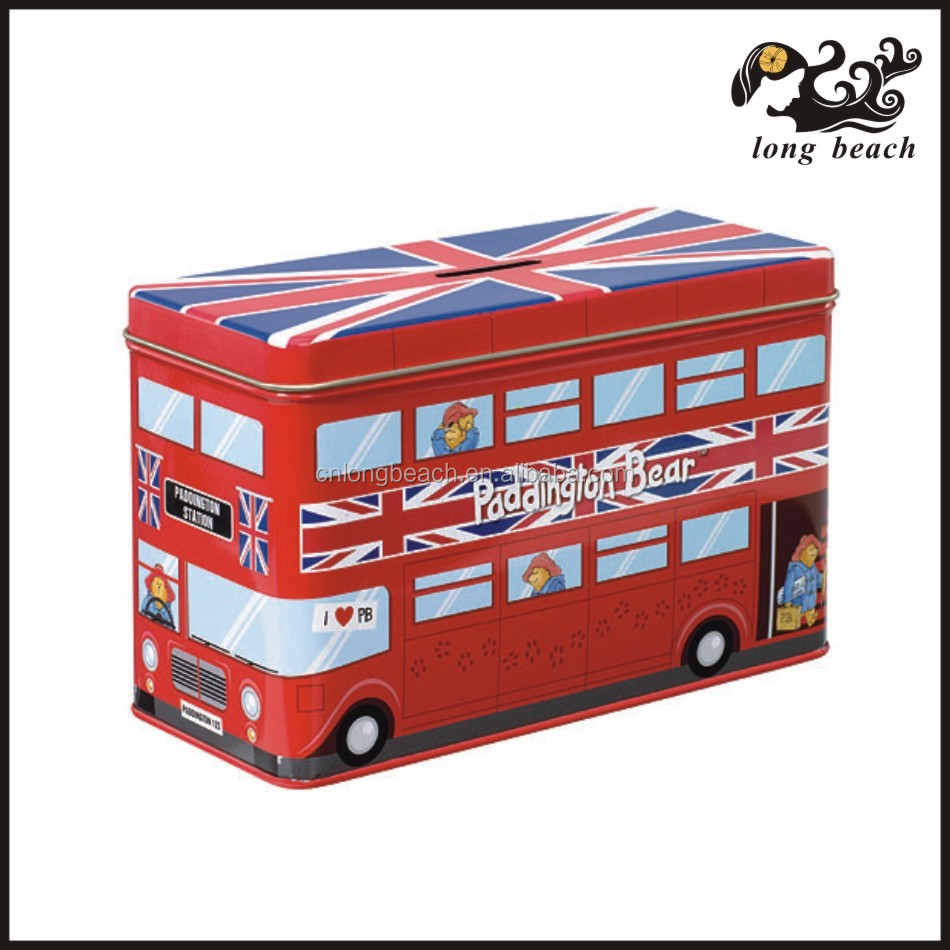 Rectangle candy tin with bus printing and coin slot on top bus shaped candy tin can