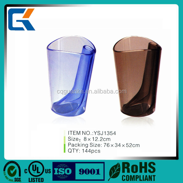 Wholesale bathroom colorful round toothbrush mug plastic cups