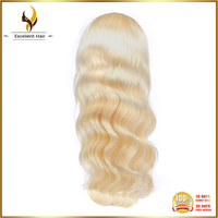 Free shipping remy hair color 613 long hair china sex woman body wave silk top full lace wig for white women