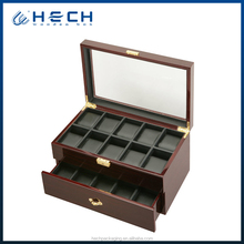 20 watch slot wooden watch and cufflink box with drawer