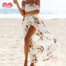 Long Dress Chiffon New Style Off Shoulder Floral Maxi Dress Beach Summer Dress