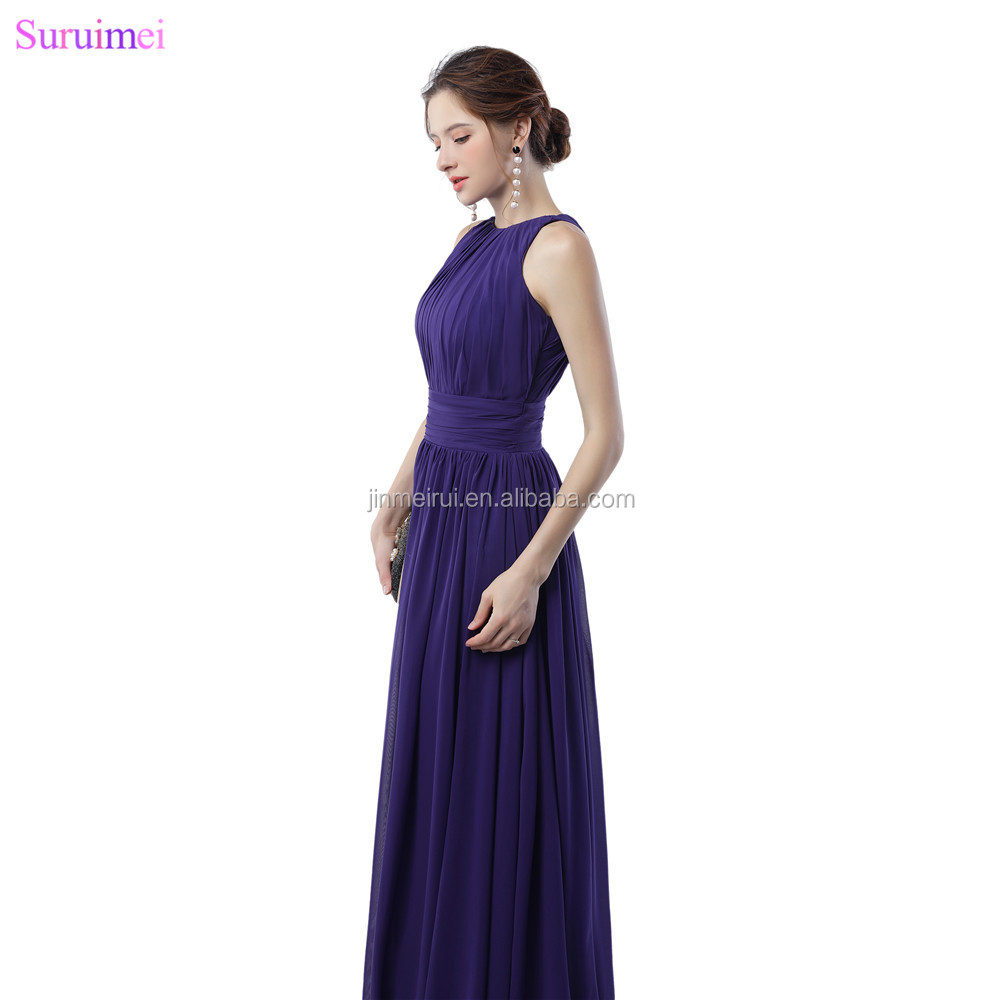 Purple Bridesmaid Dresses Off The Shoulder Elegant Zippered Back Chiffon Long Brides Maid Dress Maid Of Honor
